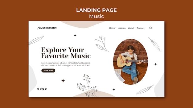 Plantilla de página de inicio de lecciones de guitarra