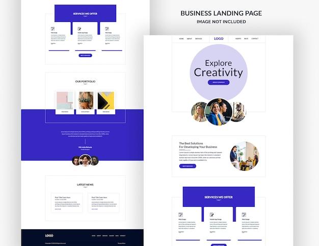 Plantilla de página del sitio web de la empresa de diseño