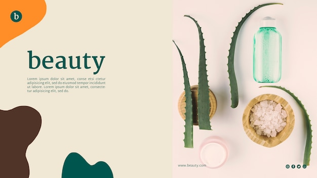 Plantilla de página web de belleza con productos de belleza