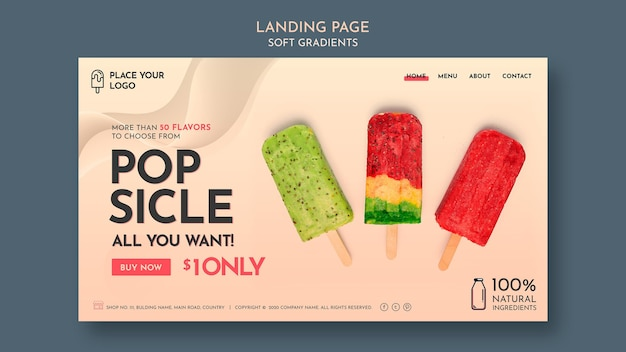Plantilla de página web de helado suave degradado