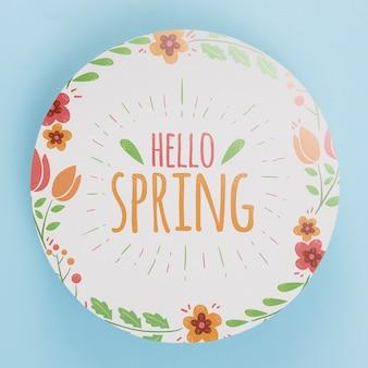 Plantilla de papel redondo con flores para primavera