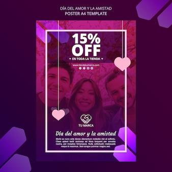 Plantilla de papelería de cartel de amigos y pareja