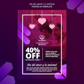 Plantilla de papelería de cartel de amor y ventas