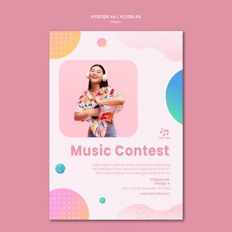 Plantilla de papelería de cartel de concurso de música