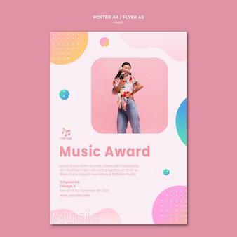Plantilla de papelería de cartel de premio de música