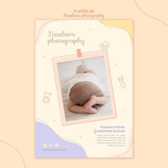 Plantilla de papelería de volante para recién nacido durmiendo
