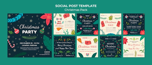 Plantilla de paquete de navidad de post social