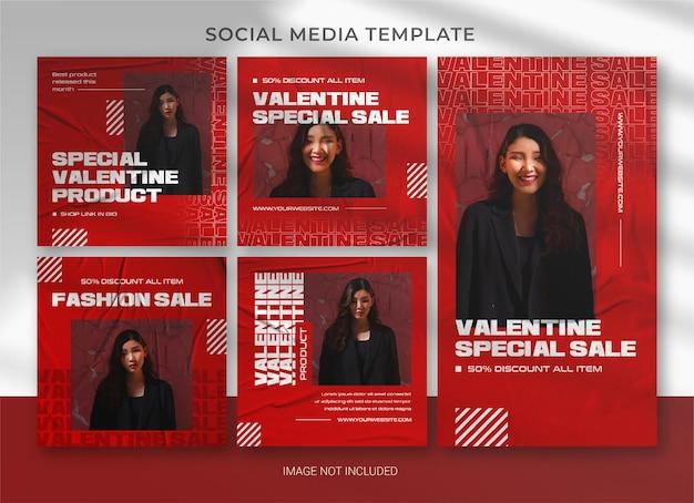 Plantilla de paquete de paquete de redes sociales de san valentín