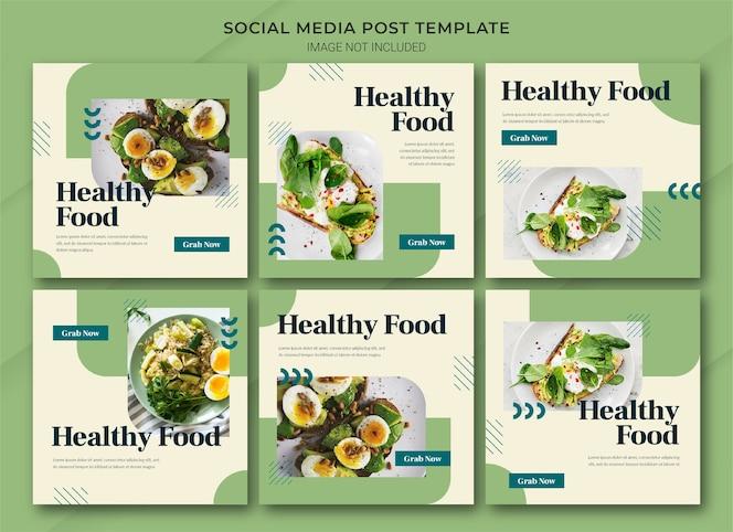 Plantilla de paquete de publicación de instagram de compras en línea de alimentos