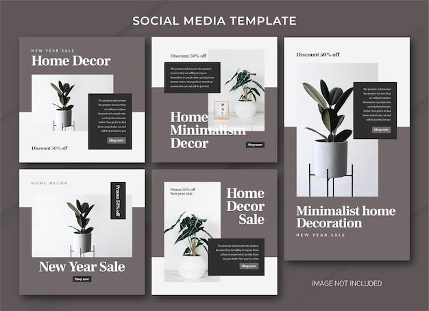 Plantilla de paquete de publicación de instagram de venta de año nuevo de decoración del hogar