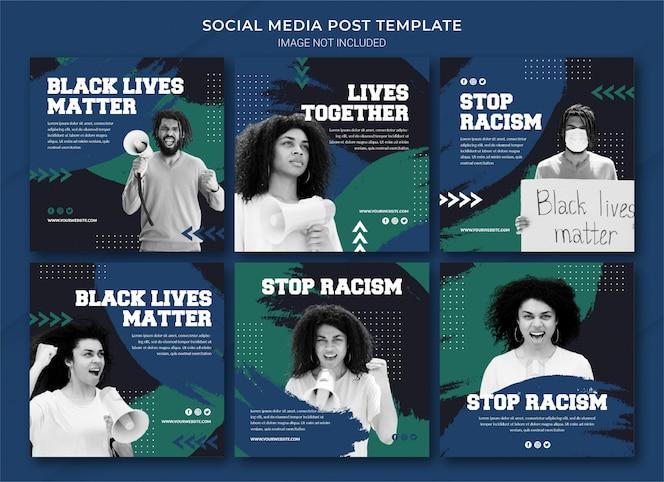 Plantilla de paquete de publicaciones de instagram de black lives matter