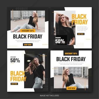 La plantilla de paquete de publicaciones de instagram de la campaña black friday