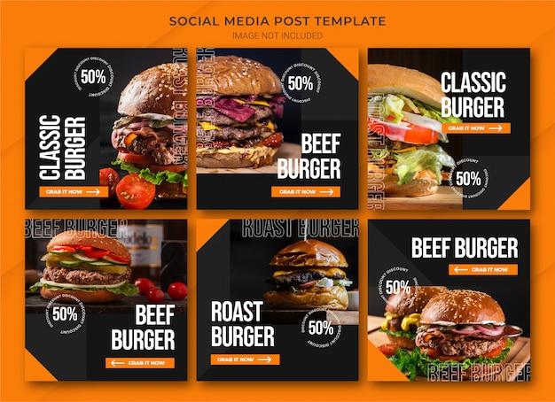 Plantilla de paquete de publicaciones de instagram de compras en línea de alimentos