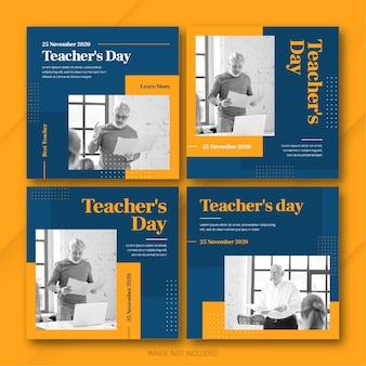 Plantilla de paquete de publicaciones de instagram del día del maestro