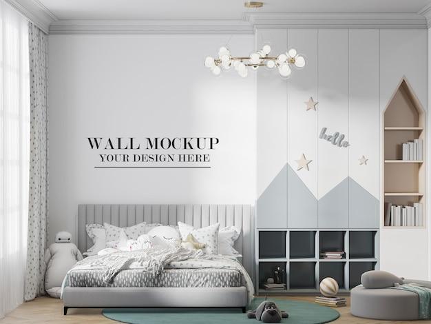 Plantilla de pared en dormitorio infantil gris y blanco.