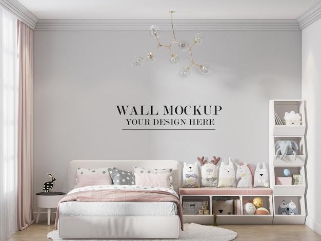 Plantilla de pared de dormitorio en representación 3d