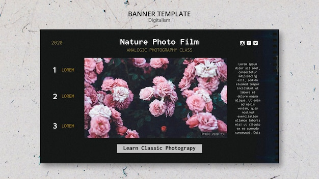 Plantilla de película de fotografía de naturaleza de banner