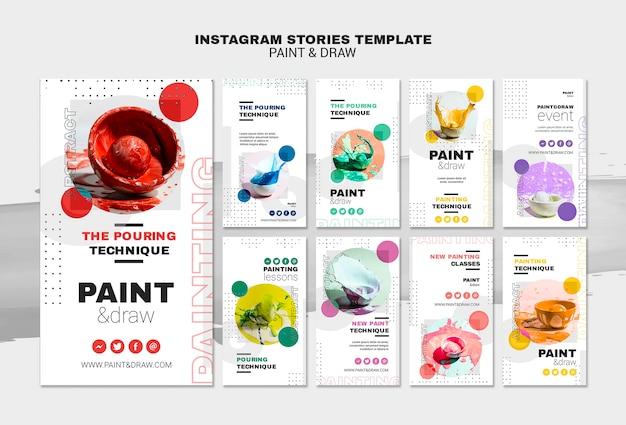 Plantilla de plantilla de historias de instagram de concepto de pintura