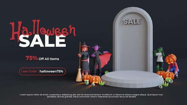 Plantilla de podio de venta de halloween con personaje de render 3d