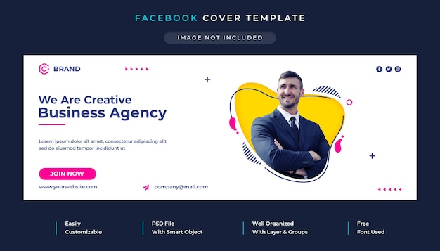Plantilla de portada de facebook de agencia de negocios creativos