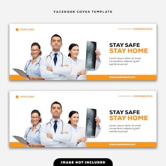 Plantilla portada de facebook banner mantente seguro quédate en casa coronavirus
