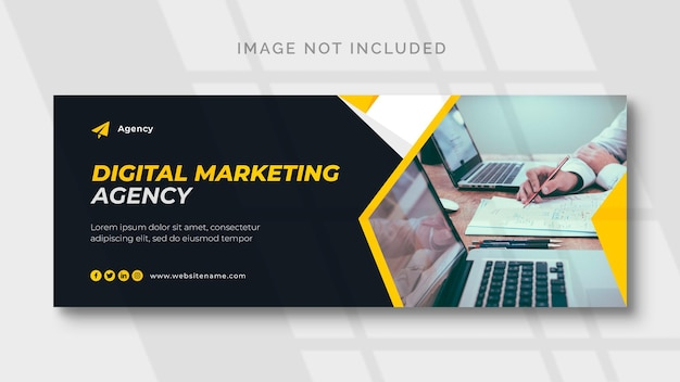 Plantilla de portada de facebook y banner web de marketing digital