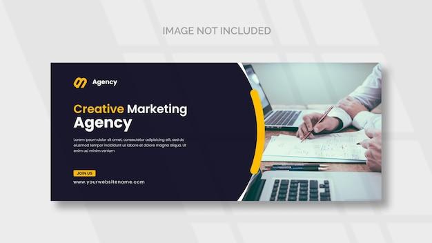 Plantilla de portada de facebook y banner web de marketing digital