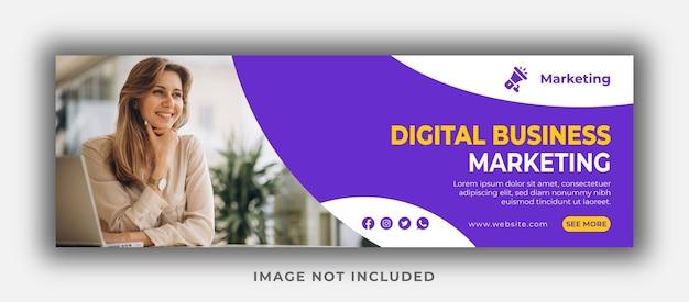 Plantilla de portada de facebook y banner web de marketing de negocios digitales