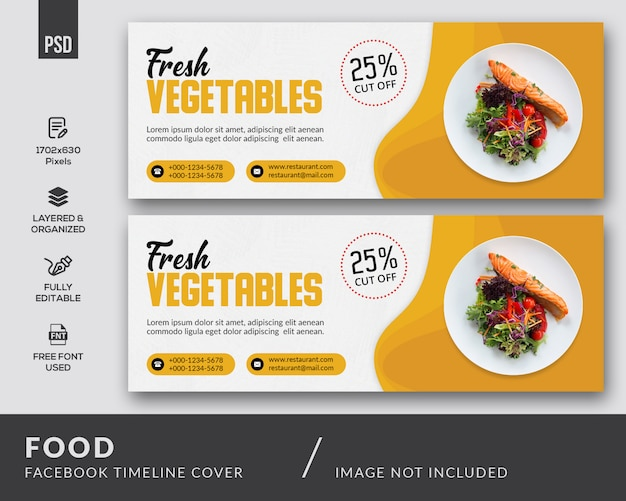 Plantilla de portada de facebook de comida