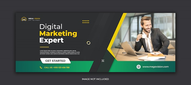 Plantilla de portada de facebook corporativa de marketing digital