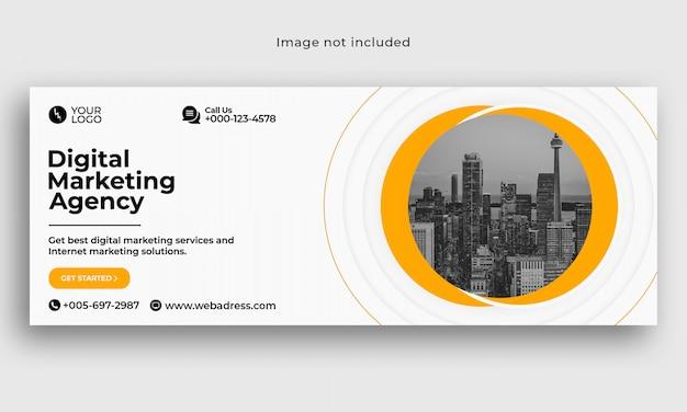 Plantilla de portada de facebook empresarial de marketing digital