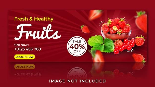Plantilla de portada de facebook de frutas frescas y saludables