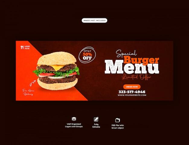 Plantilla de portada de facebook de menú de venta de comida deliciosa