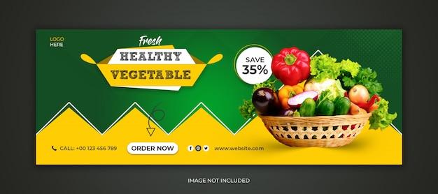 Plantilla de portada de facebook de redes sociales de alimentos saludables frescos