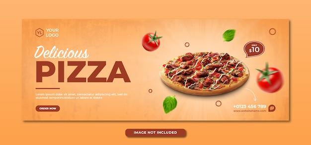 Plantilla de portada de facebook y redes sociales de menú de comida