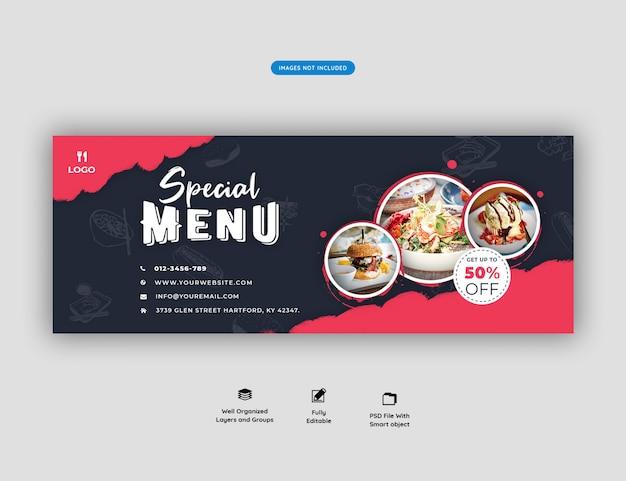 Plantilla de portada de facebook y restaurante de comida