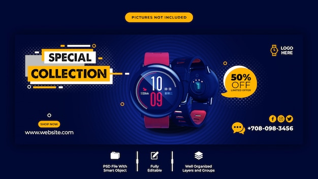 Plantilla de portada de facebook de venta de reloj inteligente