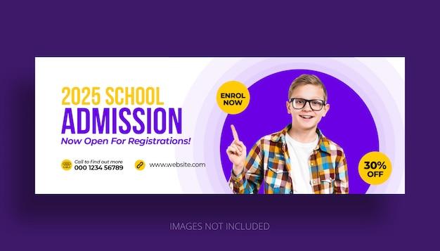 Plantilla de portada de línea de tiempo de facebook de admisión a educación escolar