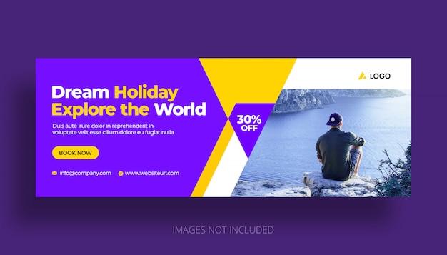 Plantilla de portada de línea de tiempo de facebook de vacaciones de viaje