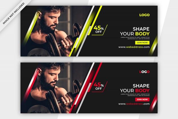 Plantilla de portada promocional de facebook de fitness o gym
