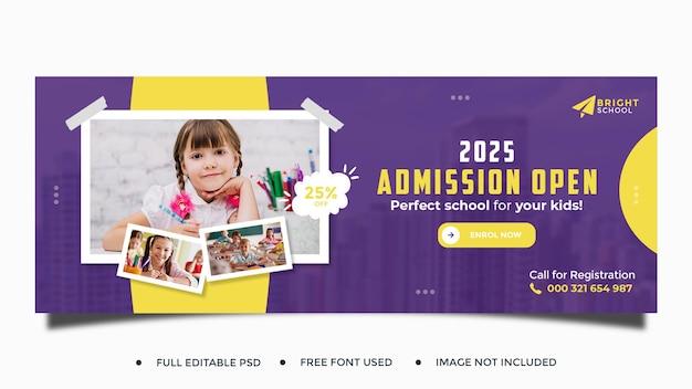 Plantilla de portada de redes sociales de admisión de educación escolar para niños