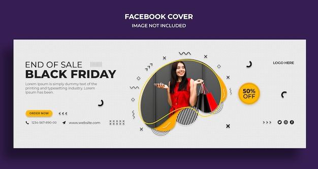 Plantilla de portada de redes sociales y banner web de venta de black friday