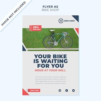 Plantilla de portada de volante de concepto de tienda de bicicletas