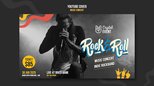 Plantilla de portada de youtube de concierto de música rock