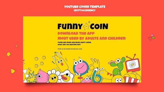 Plantilla de portada de youtube de criptomoneda de moneda divertida