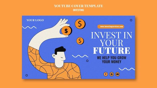 Plantilla de portada de youtube de inversión ilustrada