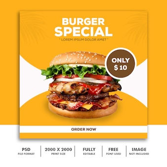 Plantilla post banner cuadrado para instagram, especial de hamburguesas de comida de restaurante