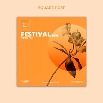 Plantilla de post cuadrado con concepto de festival de primavera