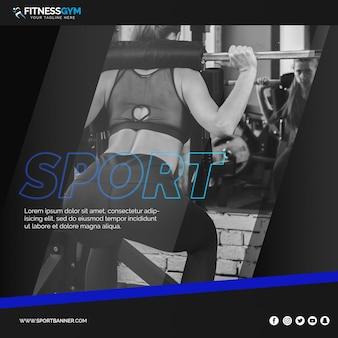 Plantilla de post cuadrado con concepto de fitness