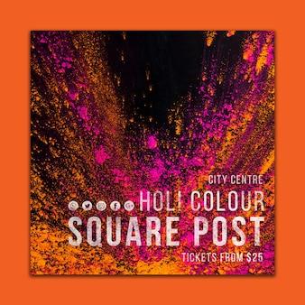 Plantilla de post de redes sociales para el holi festival